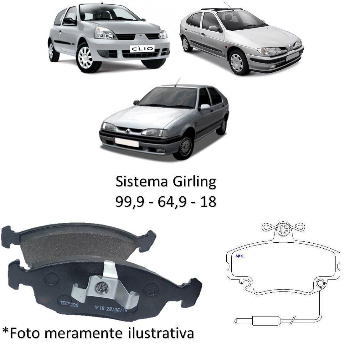 Kit Jogo Pastilha de Freio Dianteira Renault Clio 1996 1997 1998 1999 2000 2001 2002 Megane 1998 1999 2000 2001 2002 200 R19 1993 1994 1995 1996 1997 1998 1999