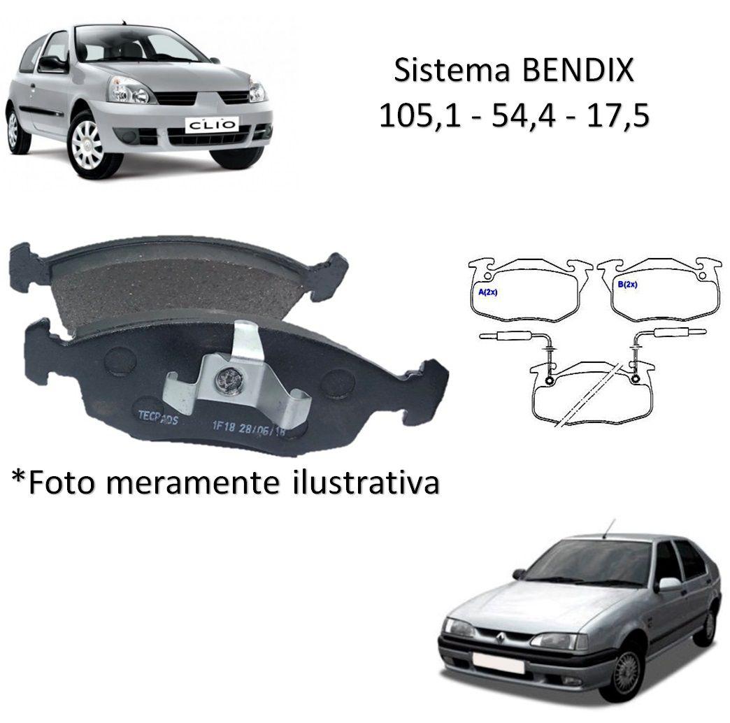 Kit Jogo Pastilha de Freio Dianteira Renault Clio 1996 1997 1998 R19 1993 1994 1995 1996 1997 1998 1999 Express 1992 1993 1994 1995 1996 1997 1998 1999 2000