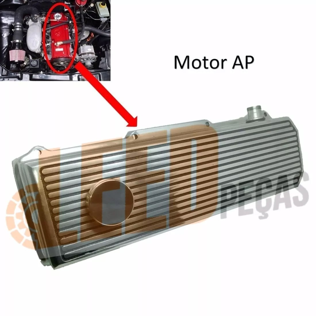 TAMPA COMANDO DE VALVULA (PRETA POLIDA) MOTOR AP VW 1.6 1.8 2.0 8V