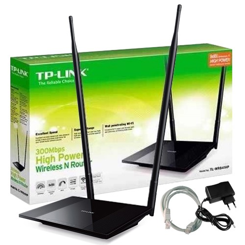 1410d3aae Roteador Sinal Wireless Wifi 300 Mbps Tp Link TL-WR841HP 2 Antenas 8Dbi  1000mw Alta Potência - TOP FIVE COMERCIAL