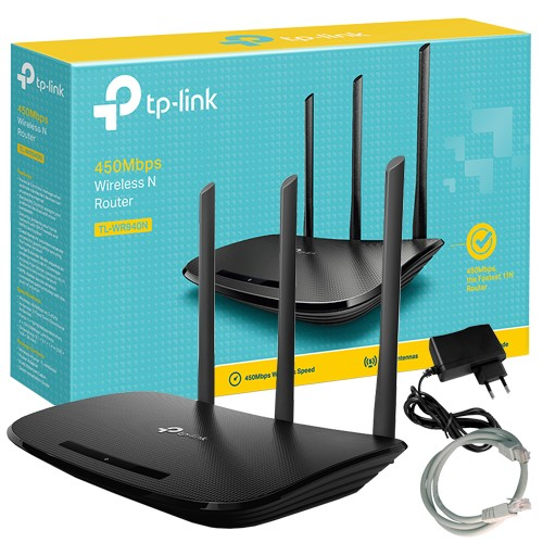 fb98b85f8 Roteador Sinal Wireless Wifi 450 Mbps Tp Link TL-WR940N 3 Antenas 5Dbi  Maior Velocidade - TOP FIVE COMERCIAL