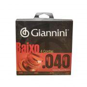 Encordoamento para Baixo Giannini Leve Niquel 0.040