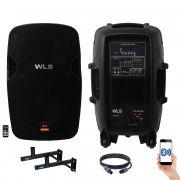 Kit Caixa de Som Ativa Passiva Wls S12 Bluetooth 430w + Suporte e Cabo