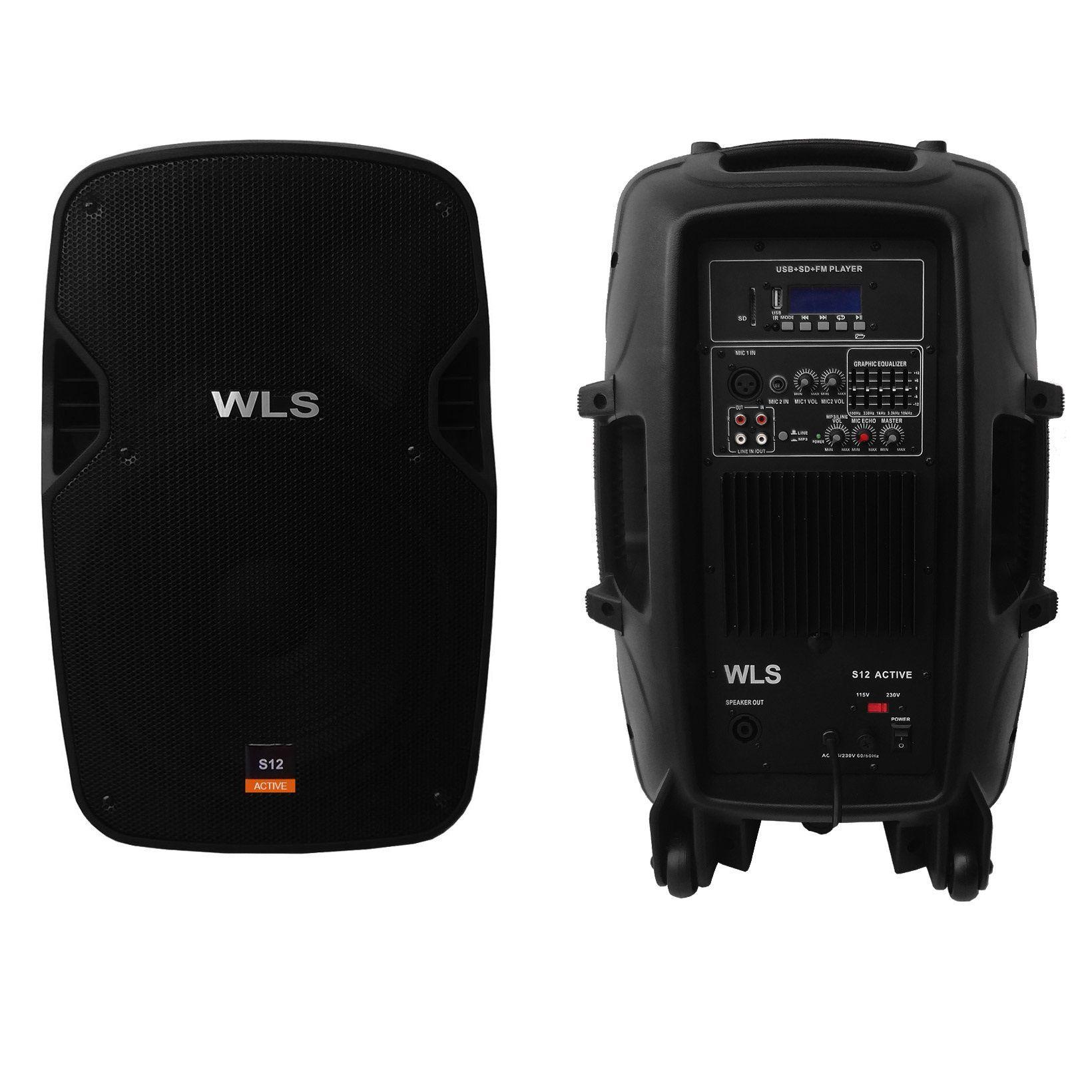 Kit Caixa De Som Ativa Passiva Wls S12 Bluetooth 430w Rms + Cabo