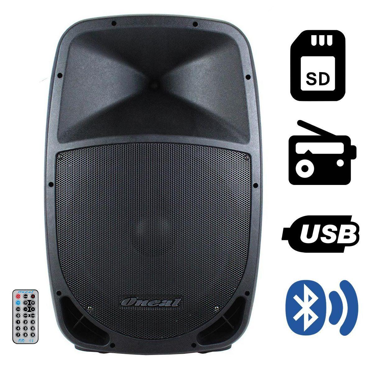 Kit Caixa Ativa Passiva Oneal Opb1112 Ob1112 + Microfone Vokal Vla42 E Pedestal