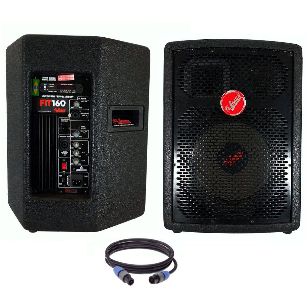 Kit Caixa de Som Ativa Passiva Leacs Fit160a Fit160 230w Rms Falante 10