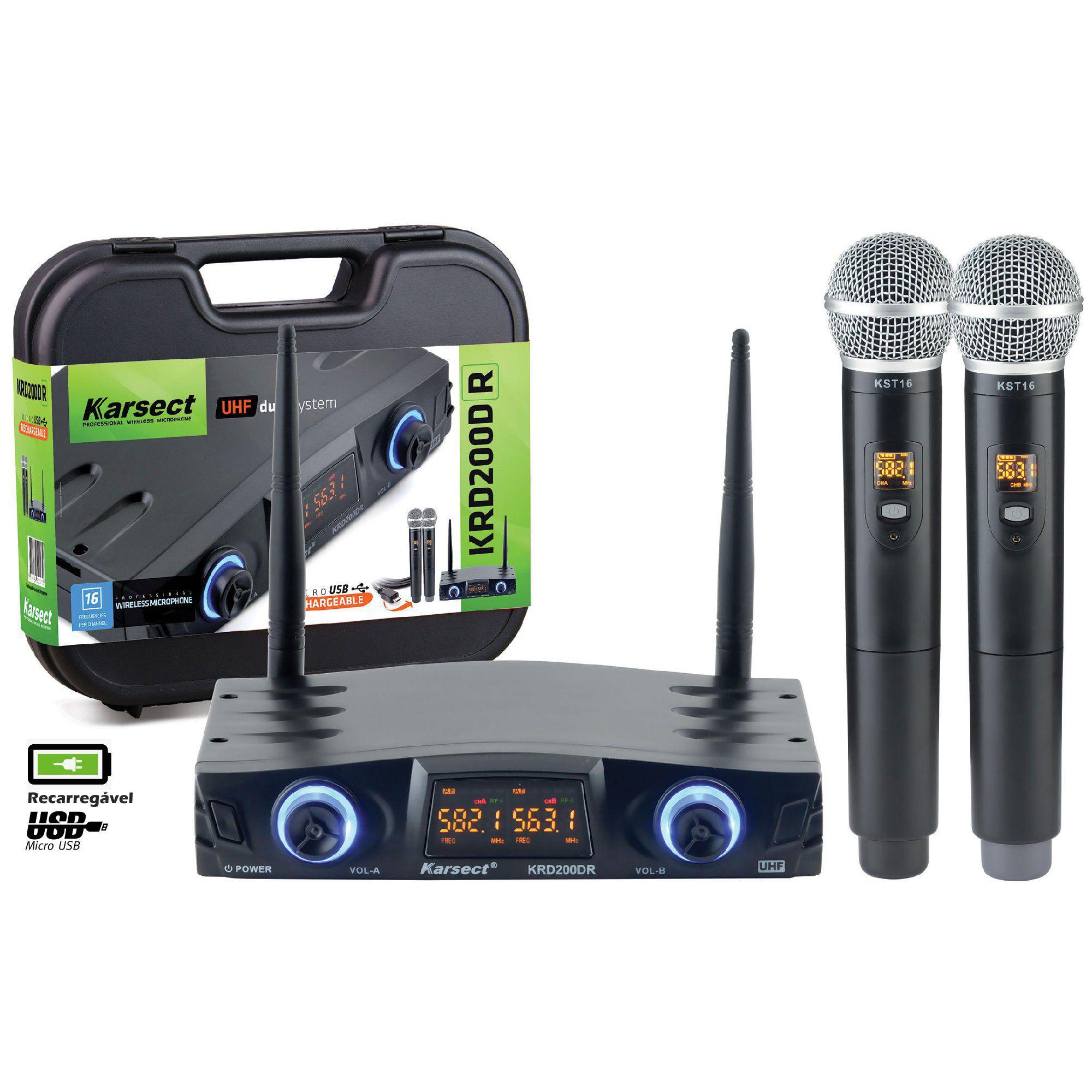 Microfone Karsect Sem Fio Krd200 Dr Bateria Recarregavel