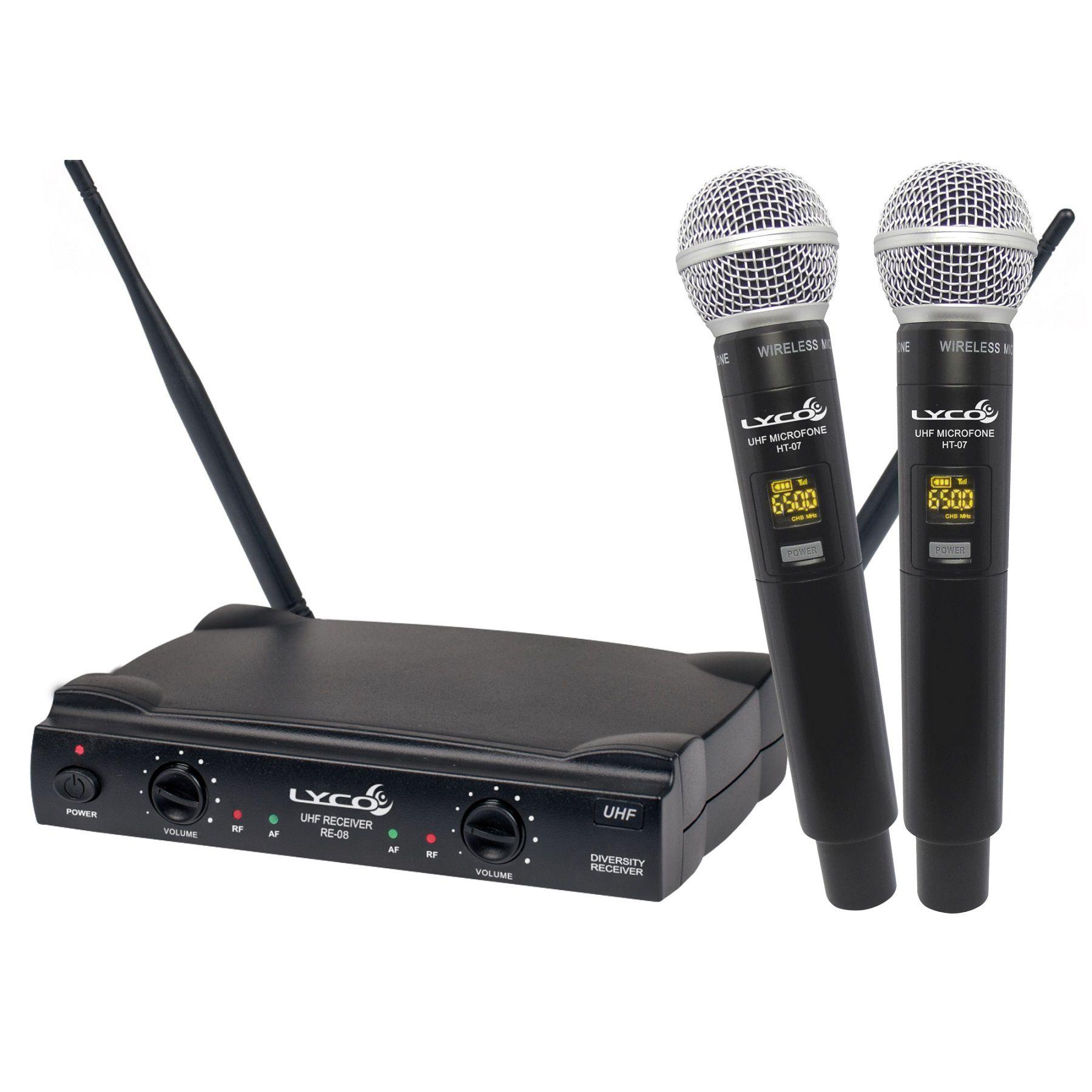 Microfone Sem Fio Lyco Mao Duplo Uh08Mm 52 Canais Uhf
