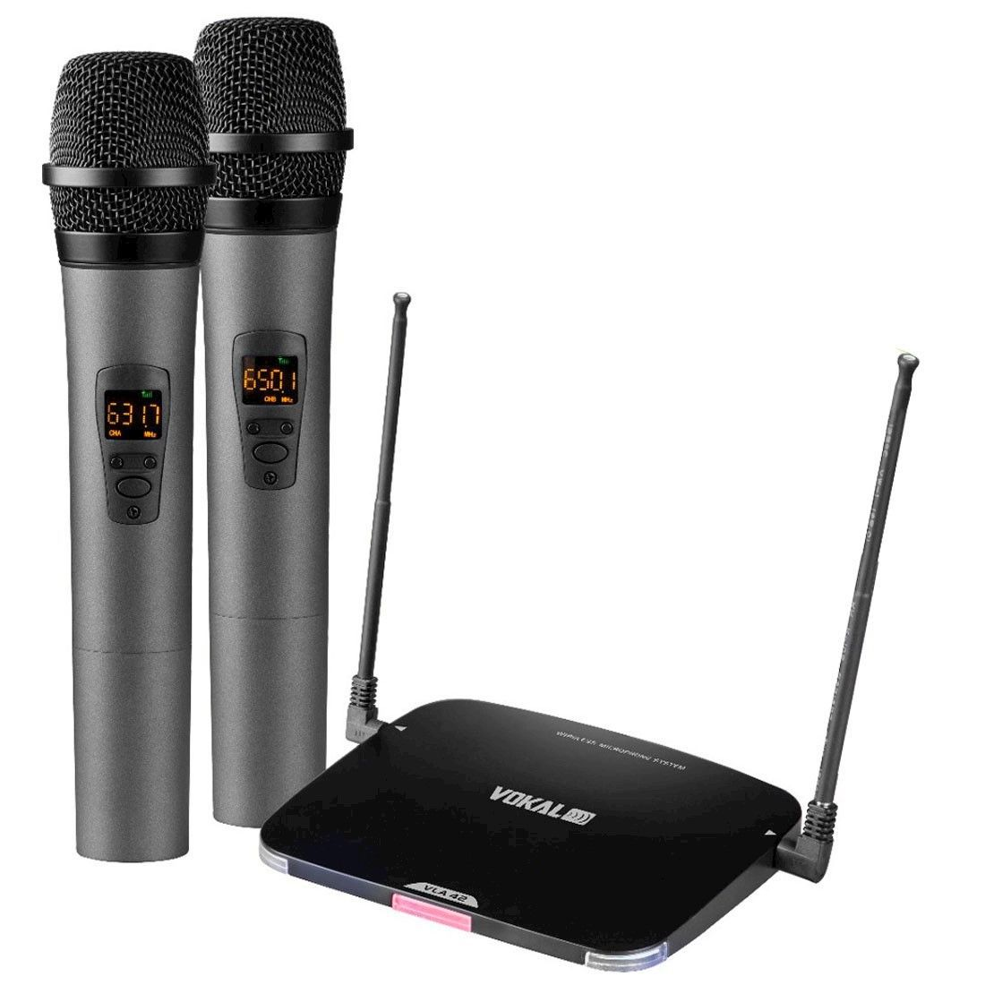Microfone Sem Fio Vokal Vla42 Uhf Duplo