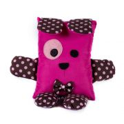 Brinquedo Almofada Pet Para Cachorro e Gato - Cachorrinho Marrom Poá Pink