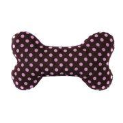 Brinquedo Osso Almofada Pet Para Cachorro e Gato - Marrom Poá