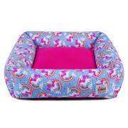 Cama de Cachorro com Zíper Hanna - P - Unicórnio Azul Pink
