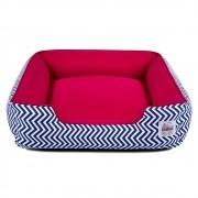 Cama de Cachorro com Zíper Pandora - M - Chevron Azul com Vermelho