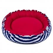 Cama de Cachorro Dupla Face Redonda Poly - Listras Azul