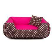 Cama de Cachorro Dupla Face Lola - EGG - Marrom Poá Pink