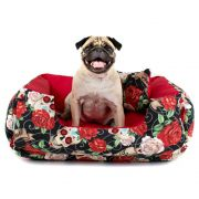 Cama de Cachorro Dupla Face Lola - G - Caveiras Vermelho