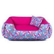 Cama de Cachorro Dupla Face Lola - M - Unicórnio Azul Pink