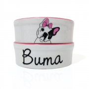 Pote para Cachorro - Comedouro e Bebedouro de Porcelana Personalizado Bulldog Francês Rosa