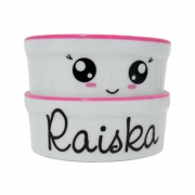 Pote para Cachorro e Gato - Comedouro e Bebedouro de Porcelana Personalizado Olhinhos Rosa