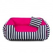 PRONTA ENTREGA - Cama de Cachorro Dupla Face Lola - G - Listras Azul com Pink