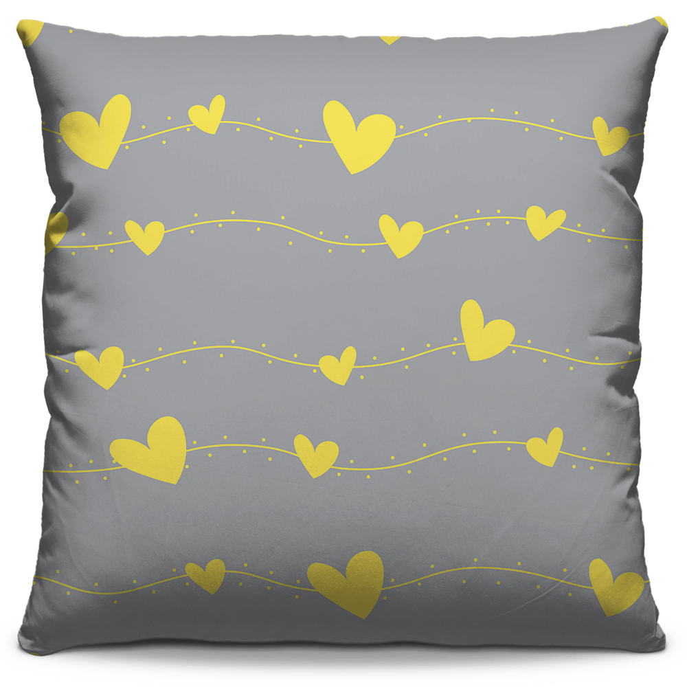 Almofada Corações Cinza Amarelo