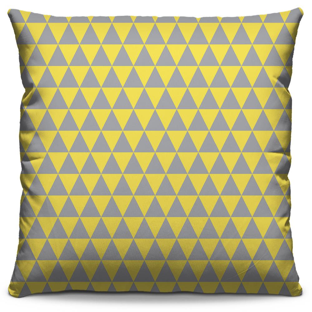 Almofada Triângulo Cinza Amarelo