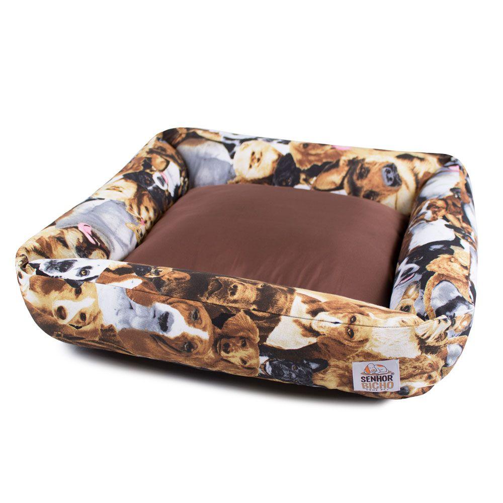 Cama de Cachorro com Zíper Hanna - G - Cachorrinhos Marrom