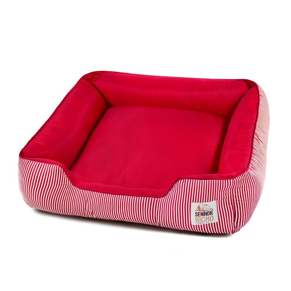 Cama de Cachorro com Zíper Pandora - M - Listra Branco Vermelho
