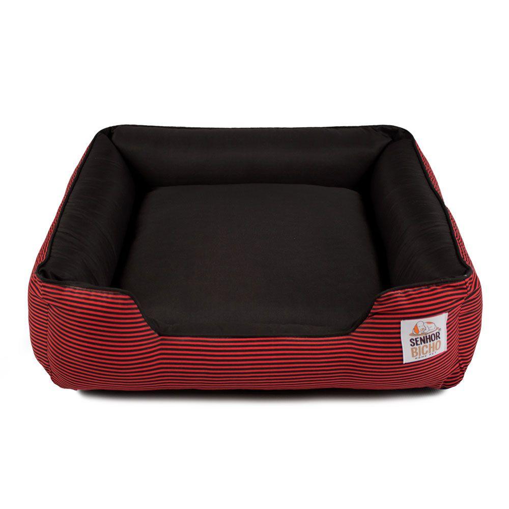 Cama de Cachorro com Zíper Pandora - M - Listra Vermelho Preto