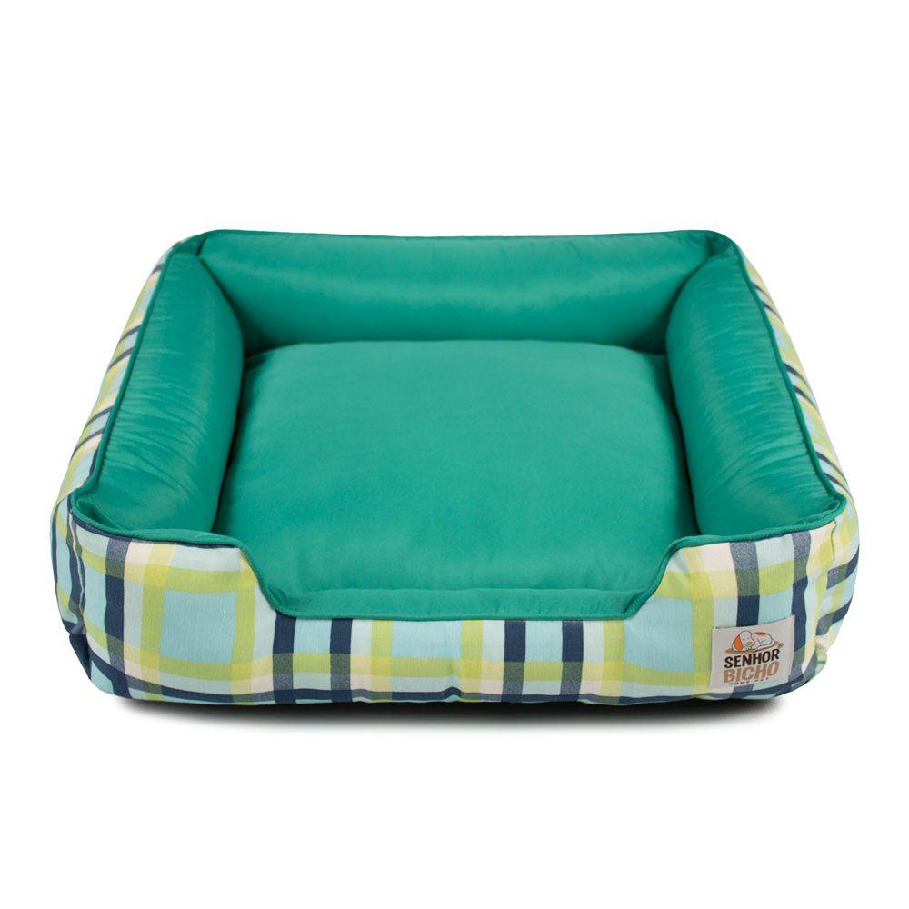 Cama de Cachorro com Zíper Pandora - G - Xadrez Azul Verde