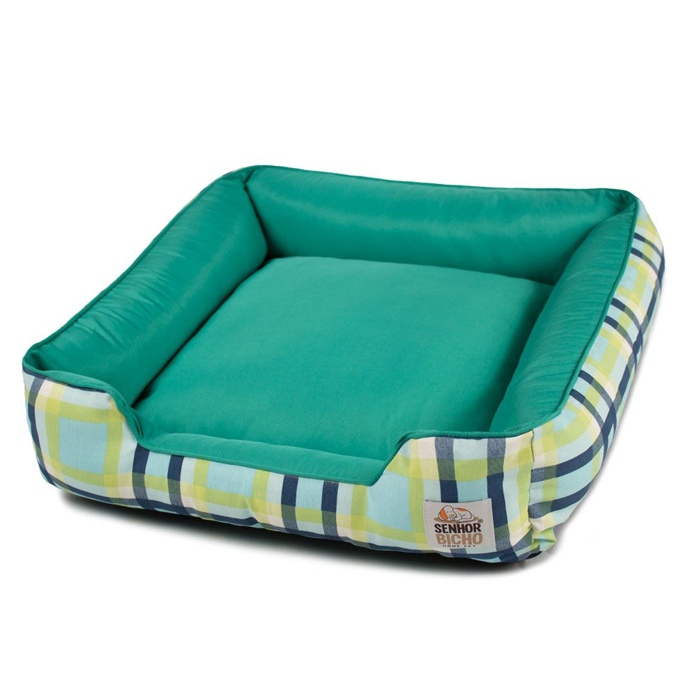 Cama de Cachorro com Zíper Pandora - M - Xadrez Azul Verde