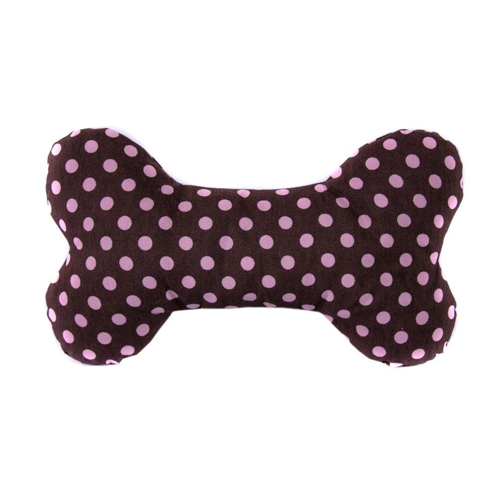Brinquedo Almofada Pet Para Cachorro e Gato - Osso Marrom Poá