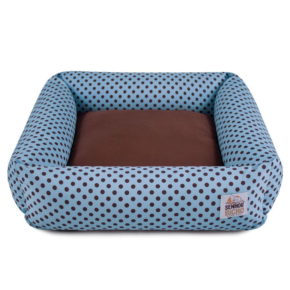 Cama de Cachorro com Zíper Hanna Especial 90x90 - Azul Poá Marrom