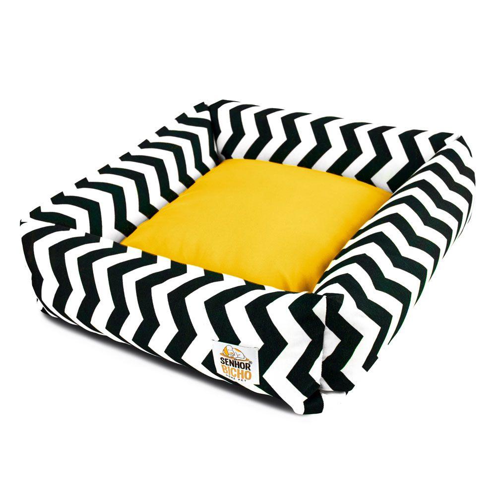 Cama de Cachorro com Zíper Hanna Especial 90x90 - Chevron Amarelo