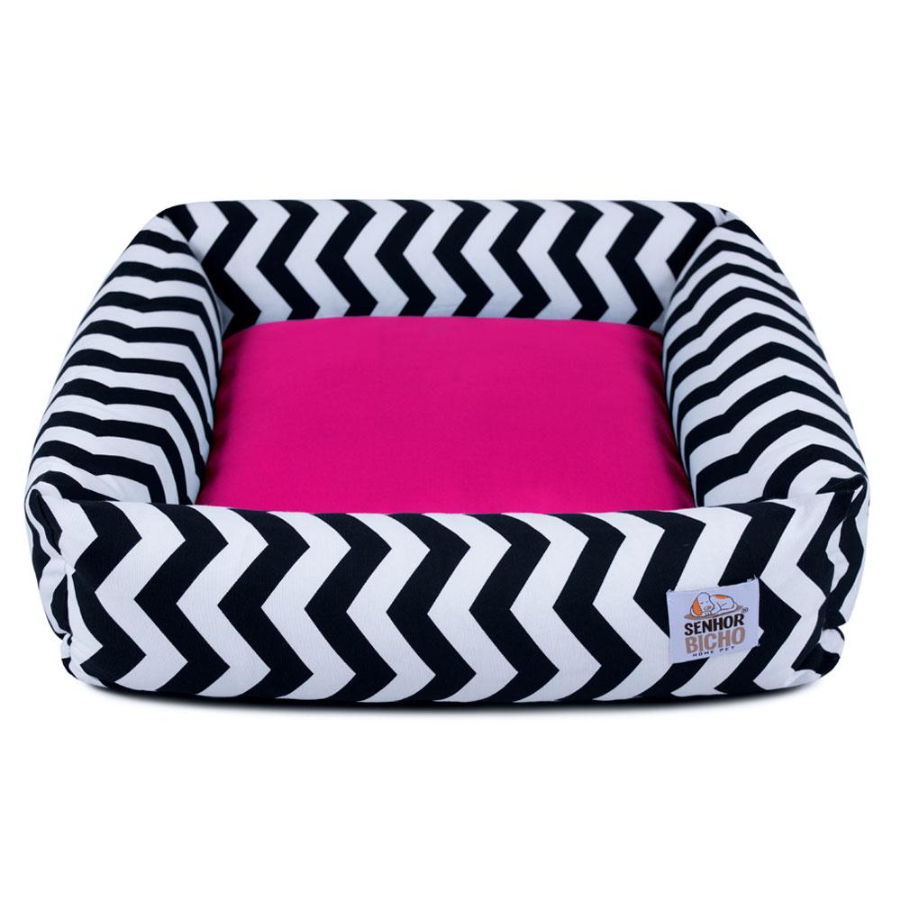 Cama de Cachorro com Zíper Hanna Especial 90x90 - Chevron Pink