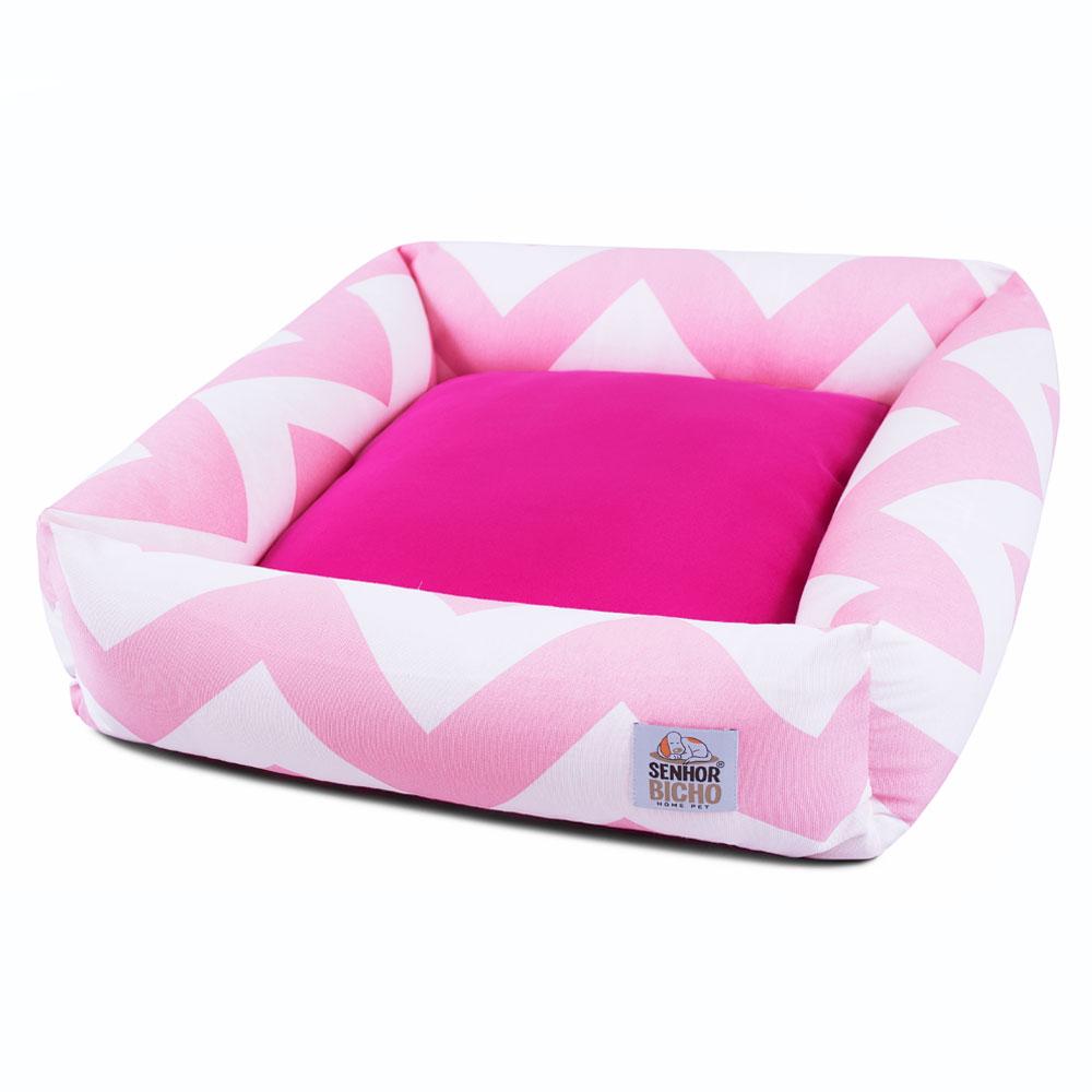 Cama de Cachorro com Zíper Hanna Especial 90x90 - Chevron Rosa Pink