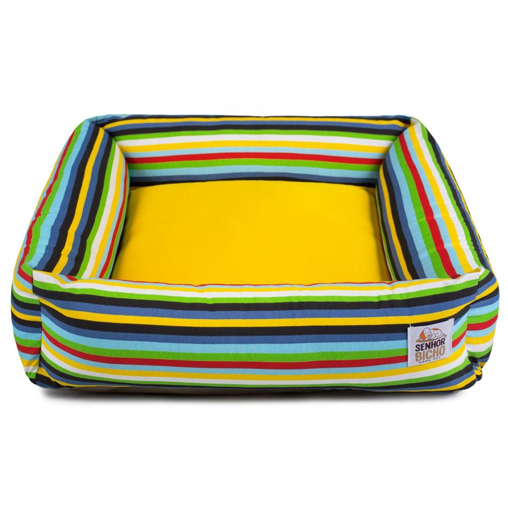 Cama de Cachorro com Zíper Hanna Especial 90x90 - Listras Amarelo
