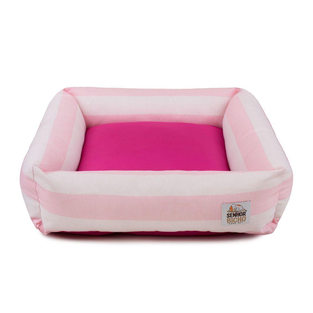 Cama de Cachorro com Zíper Hanna Especial 90x90 - Listras Rosa