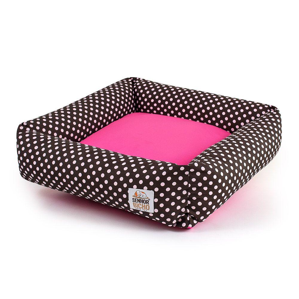 Cama de Cachorro com Zíper Hanna Especial 90x90 - Marrom Poá Pink