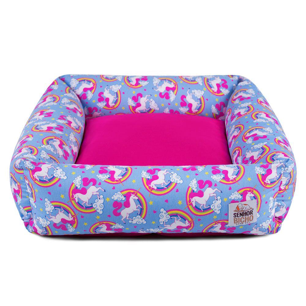 Cama de Cachorro com Zíper Hanna Especial 90x90 - Unicórnio Azul Pink
