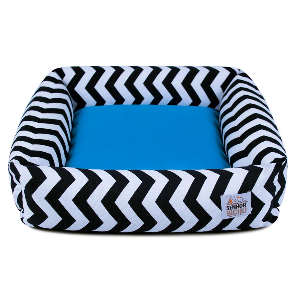 Cama de Cachorro com Zíper Hanna - G - Chevron Azul