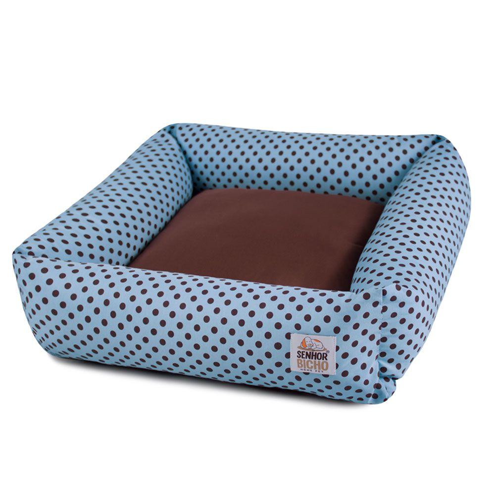 Cama de Cachorro com Zíper Hanna - M - Azul Poá Marrom
