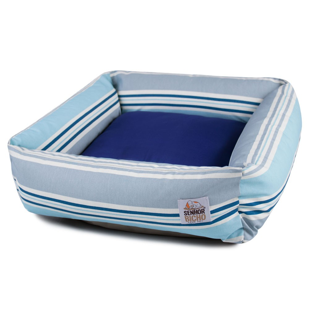 Cama de Cachorro com Zíper Hanna - M - Listra Azul Claro