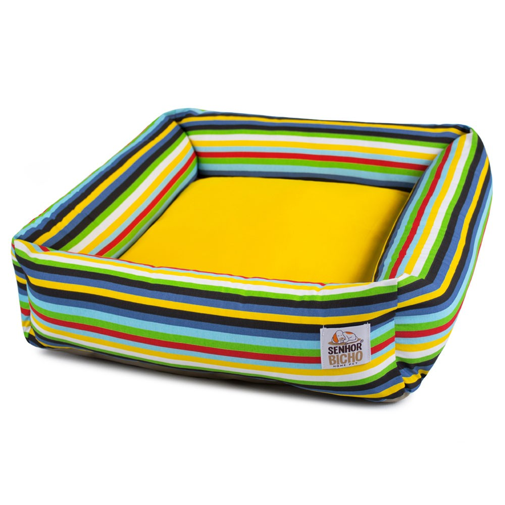 Cama de Cachorro com Zíper Hanna - P - Listras Amarelo