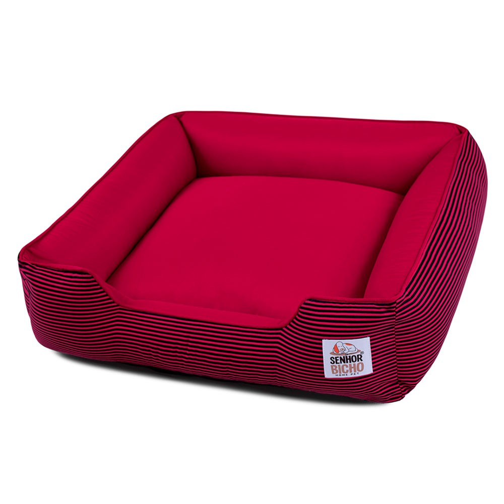 Cama de Cachorro com Zíper Pandora - M - Listrinhas Vermelho com Preto