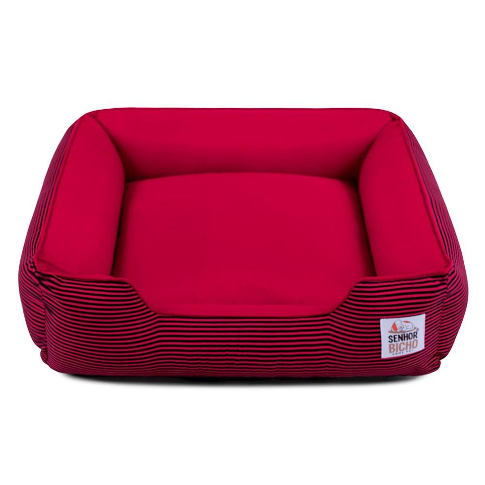 Cama de Cachorro com Zíper Pandora - G - Listrinhas Vermelho com Preto