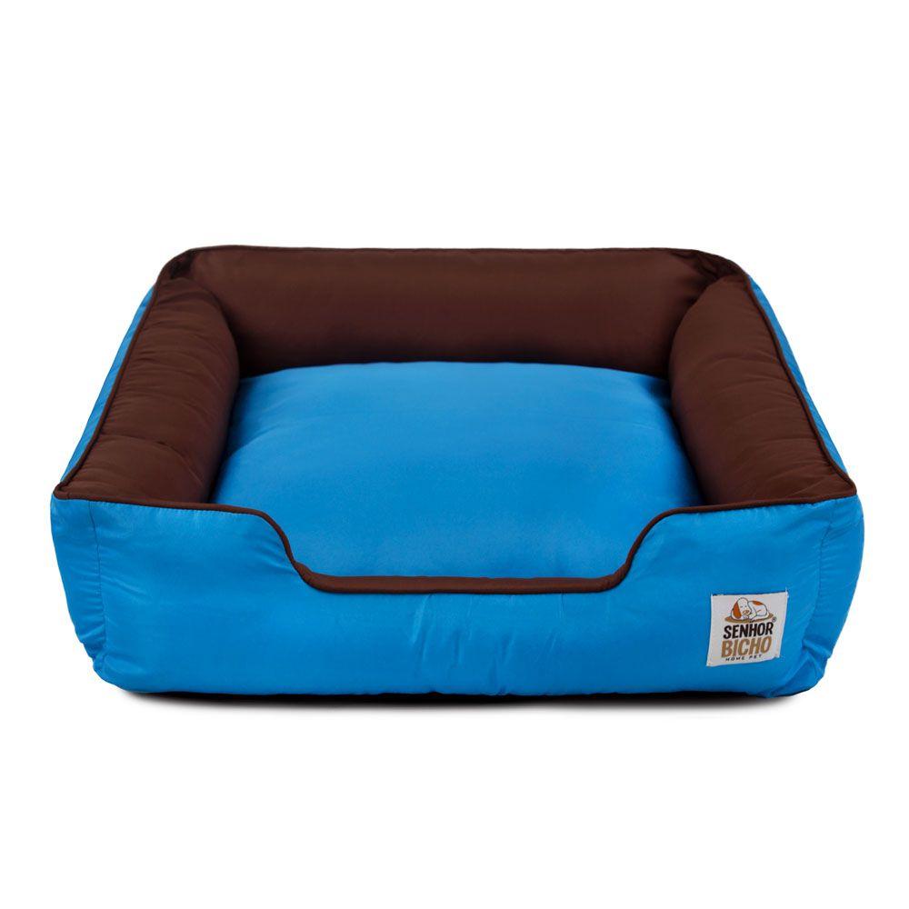 Cama de Cachorro com Zíper Pandora - G - Marrom Azul