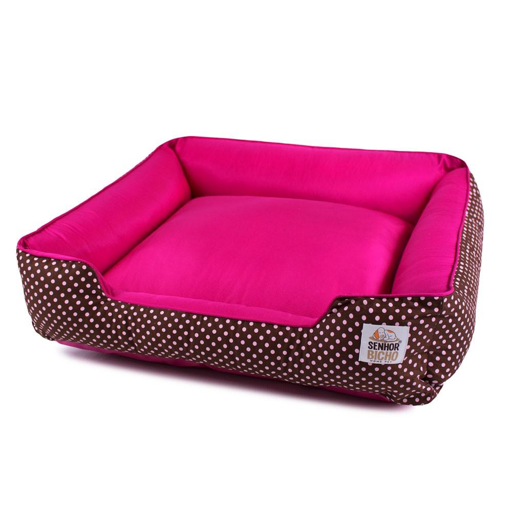 Cama de Cachorro com Zíper Pandora - G - Marrom Poá com Pink
