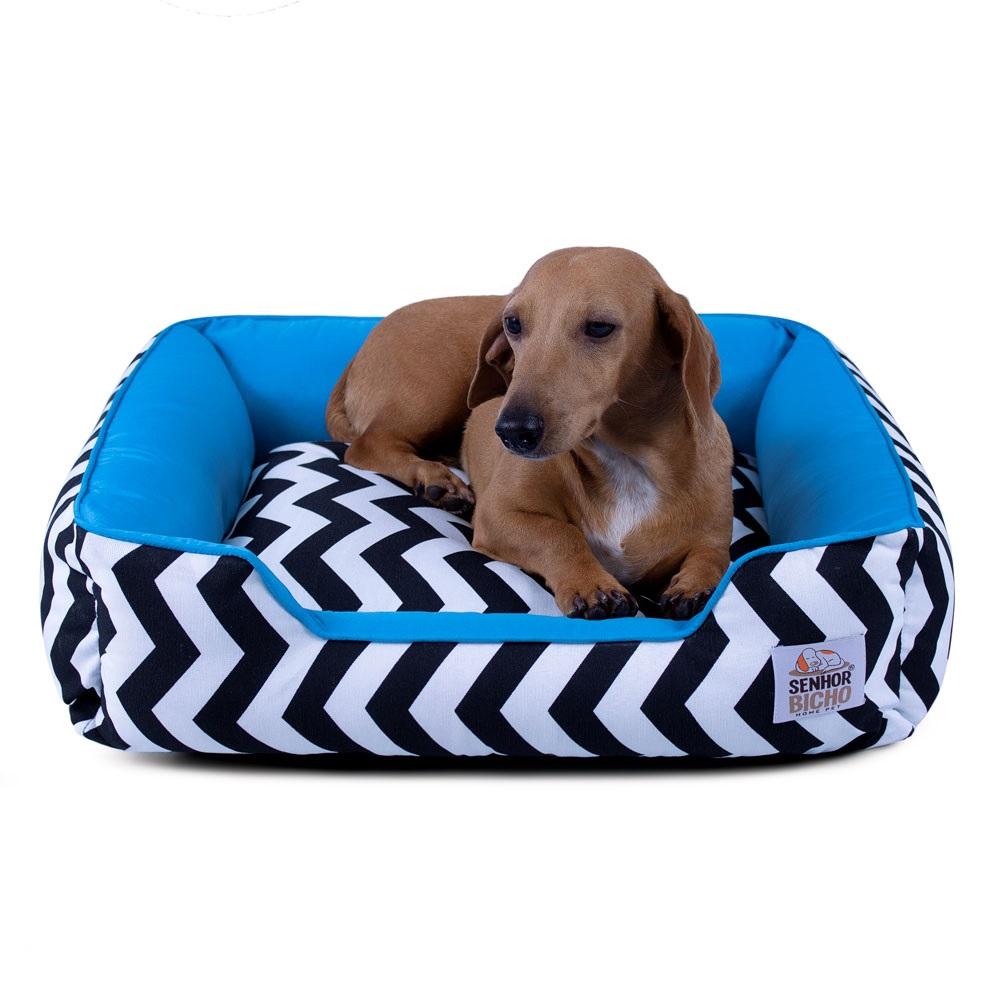 Cama de Cachorro com Zíper Pandora - M - Chevron Azul