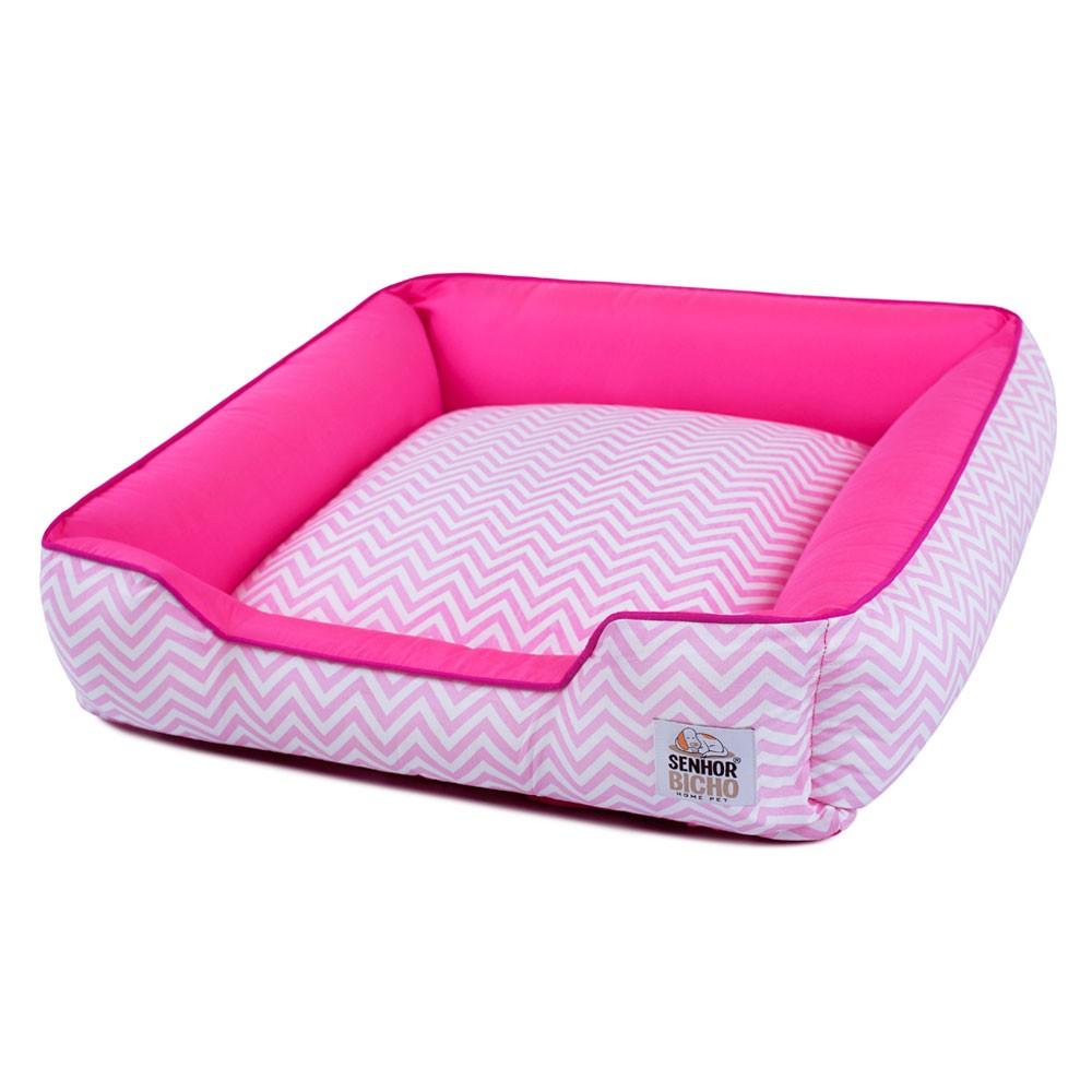 Cama de Cachorro com Zíper Pandora - M - Chevron Rosa com Pink